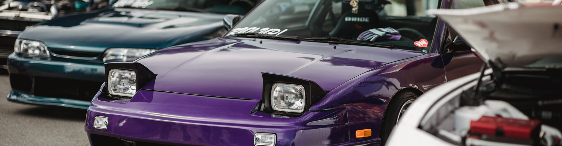 Purple and black Ford Mustang