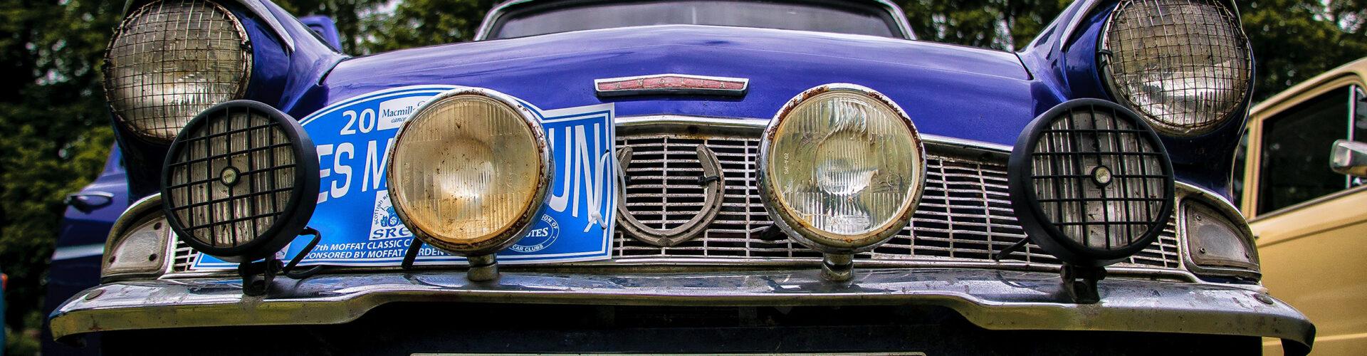 Parked blue car