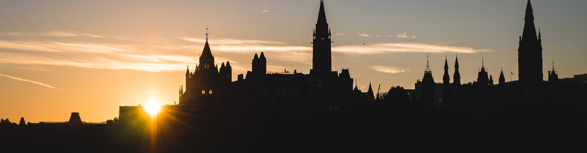 Silhouette of parliament buildings