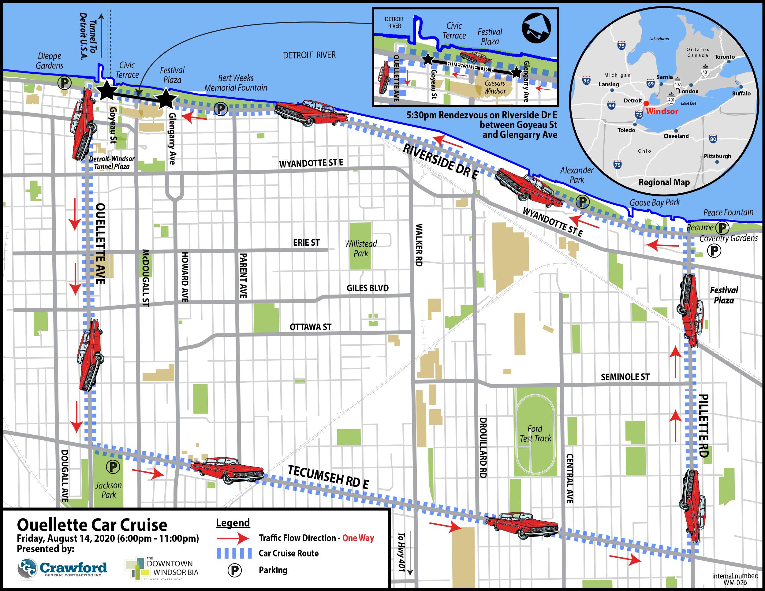 Ouellette Car Cruise Map 2020
