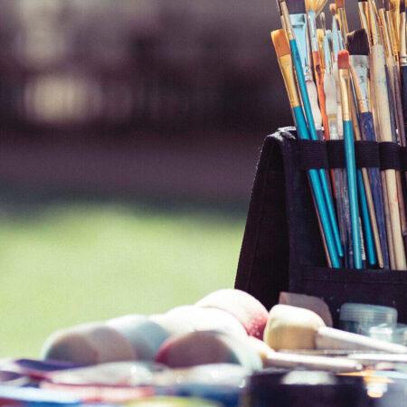 Artist supplies on table
