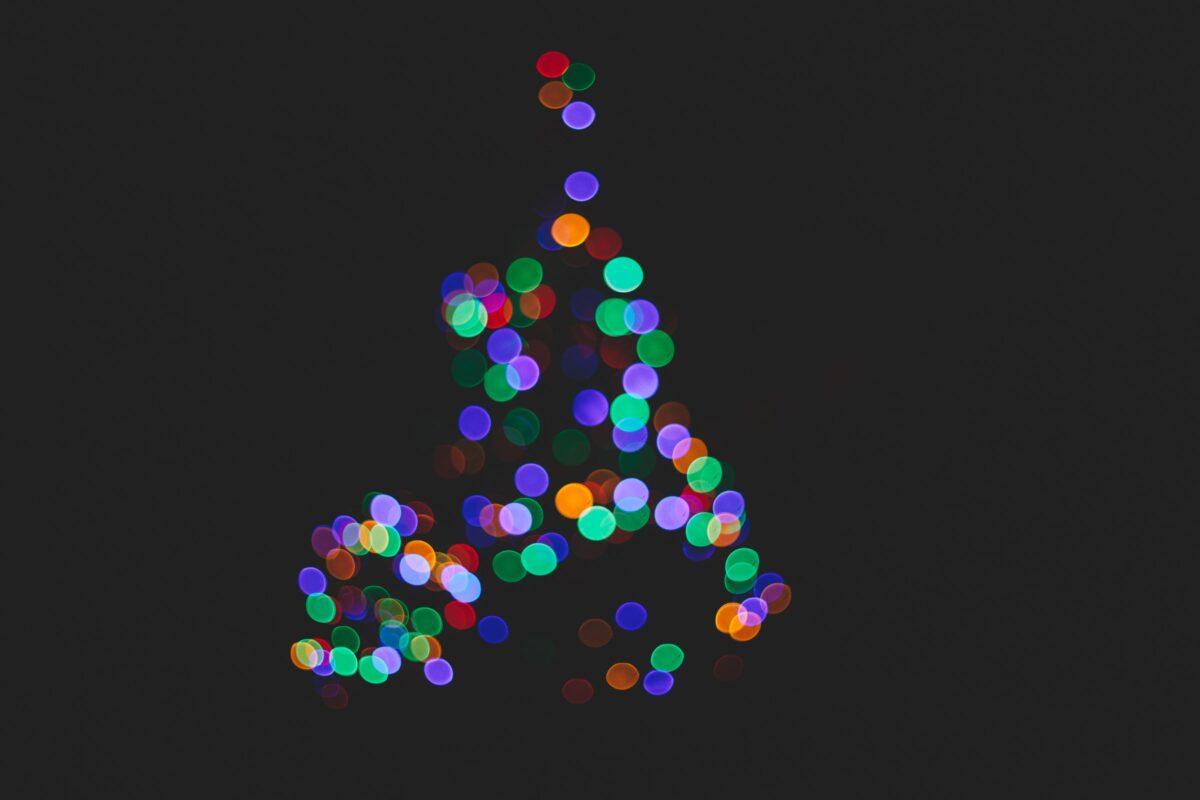 Blurry image of Christmas tree at night