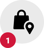 Step 1, shopping bag with map point icon